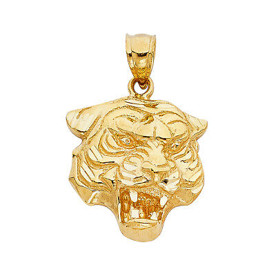14K Real Solid Yellow Gold Tiger Pendant For Men Women Tiger Pendant ()