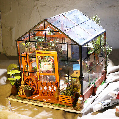 Robotime Miniature 3D Greenhouse Craft Kits for Adult Dolls House with Furniture