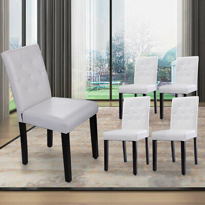 Set of 4 Kitchen Dinette Dining Room Chair Furniture White PU Leather Backrest