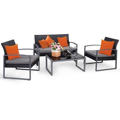 Garden Furniture - 4 PCS Outdoor Patio Garden Black Rattan Wicker Sofa Set Furniture Cushioned