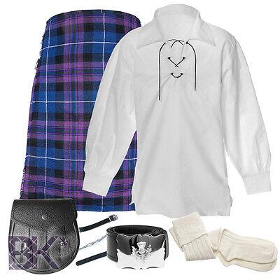 Mens Scottish 5 Yard 7 Piece Kilt package, Kilt, Shirt, Socks, Sporran, Chain+