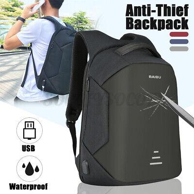 Men USB Charging Backpack Anti-Theft Travel Shoulder Laptop