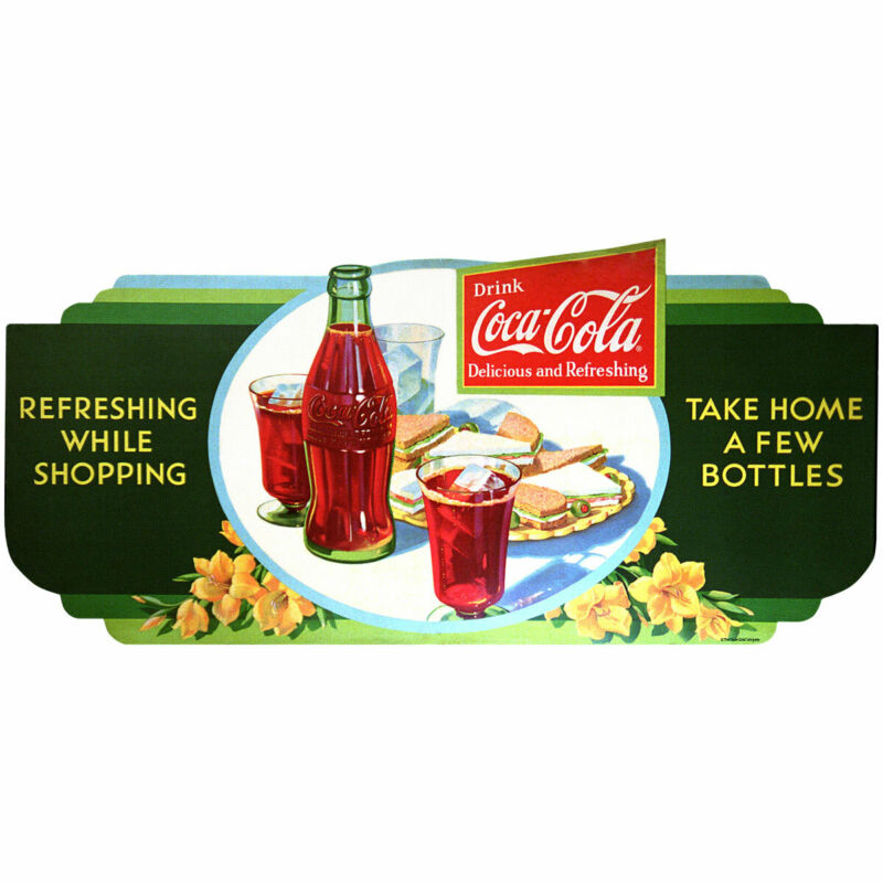 Coca-Cola Refreshing While Shopping 1950s Wall Decal 24 x 11 Vintage Style