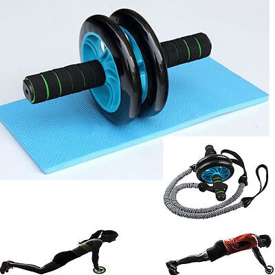 Dual AB wheel Abs Abdominal Gym Roller Workout Exercise Gym Roller Fitness w mat