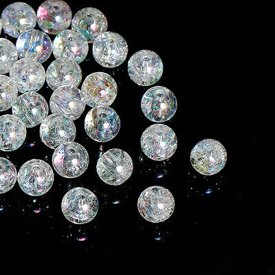200 Clear Crackle Acrylic AB Coated 8mm Round Beads J82070