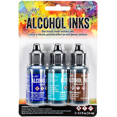 Tim Holtz Alcohol Ink .5oz 3/Pkg Mariner-Indigo/Mermaid/Teakwood NEW #9