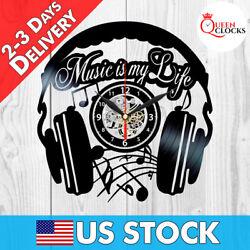 Music Lovers Headphones Jazz Rock Musician Notes Vinyl Record Wall Clock LP Gift
