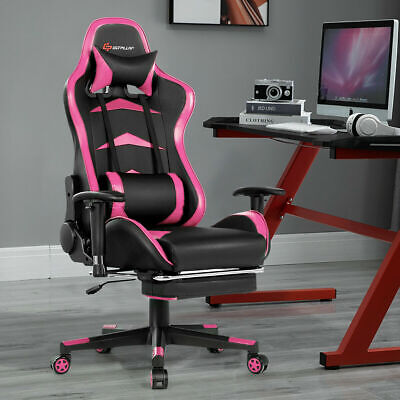 Massage Gaming Chair Reclining Swivel Racing Office Chair With Footrest Pink