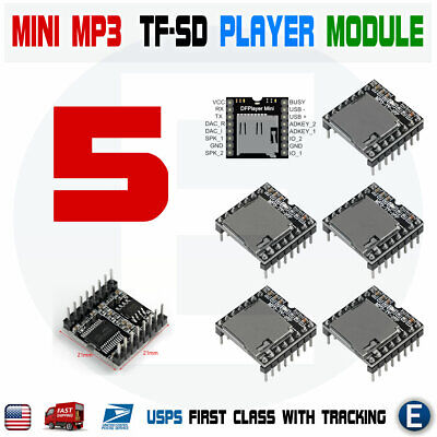 5pcs Mini Mp3 Player Module With Simplified Output Speaker U-disk Tf Sd Arduino