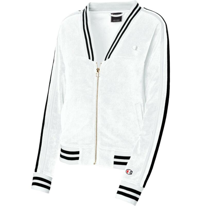 Champion Womens Terry Warm Up V-Neck Fitness Athletic Jacket Outerwear BHFO 9942