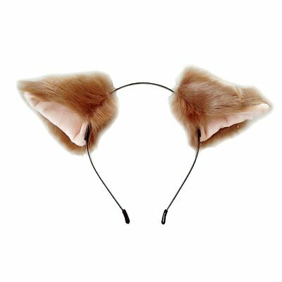 Cutegirl Cat Fox Ears Long Fur Hair Headband Anime Cosplay Party Costume Brown](Fox Ears Costume)