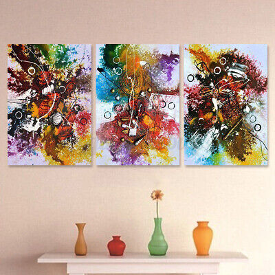 3Pcs Colorful Abstract Canvas Oil Painting Art Print Wall Picture Indoor  C