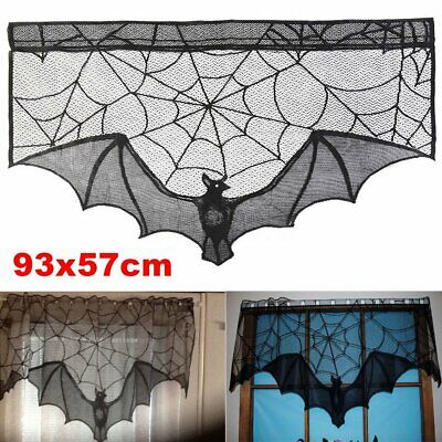 Black Lace Bat Halloween Props Party Scary Indoor Decorations Window -