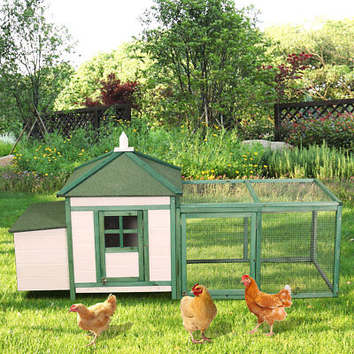 "77"" Wooden Chicken Coop Hen House Rabbit Bunny Hutch Poultry Pet Run Cage w/Tray"