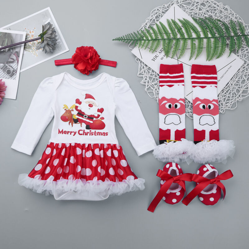 eedf3a89fb7ab Newborn Infant Baby Girls Merry Christmas Dress Xmas Party Tutu ...