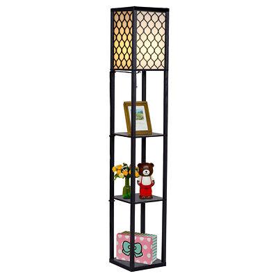 Modern Shelf Floor Lamp Lighting Home Living Room Bedroom w/ 3 Storage Shelves