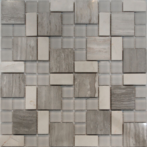10sf square pattern wooden gray marble stone glass mosaic