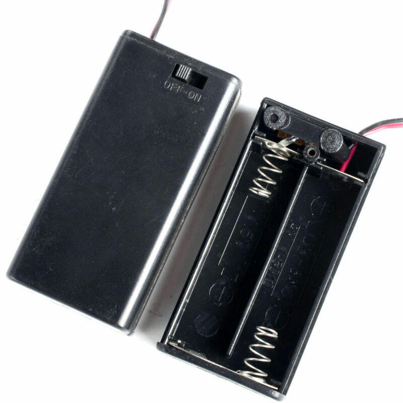 2x Double A Battery Holder Case Box 2-AA Cells With Wire Leads & Cover & Switch