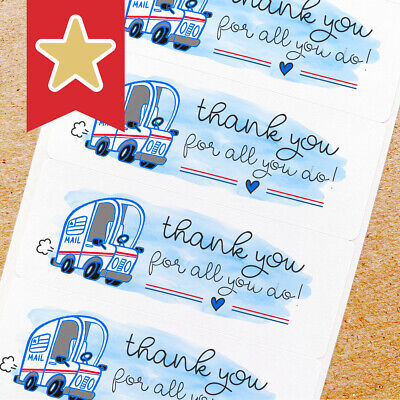 Mail Carrier Thank You Labels Stickers For Online Shop Sellers 100ct