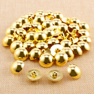 50 PCS Antique Gold Metallic Buttons Dome Shank Button Fashion Coat Sewing Craft