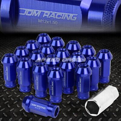 20X RACING RIM 50MM OPEN END ANODIZED WHEEL LUG NUT+ADAPTER KEY BLUE ()