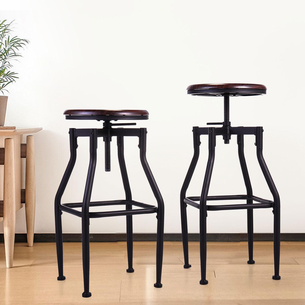Set of 2 Bar Stool Industrial Metal Design Wood Top Adjustab