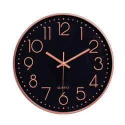 12 30cm Fashion Wall Clock Black Large Digital Silent No Ticking Gold&Blackz US