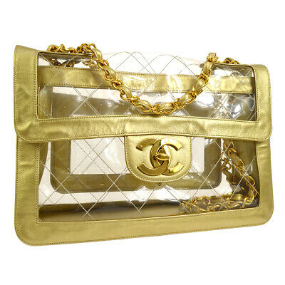 CHANEL Quilted CC Jumbo Double Chain Shoulder Bag Clear Gold Vinyl G03557e