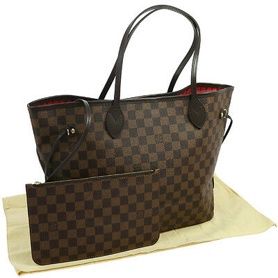 Authentic LOUIS VUITTON Neverfull MM Tote Bag Damier Ebene N51105 UNUSED JT05909