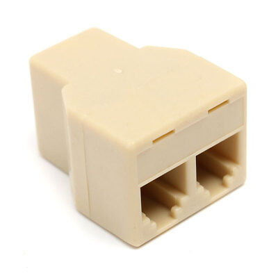 1 to 2 Female RJ11 4 Wire Telephone Jack Line Splitter Adapter Connector Beige