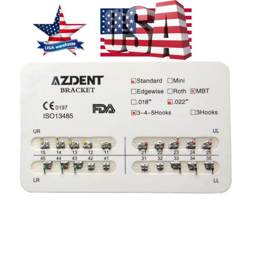 1pack Azdent Dental Orthodontic Metal Brackets Standard Mbt 022 Hooks 3 4 5