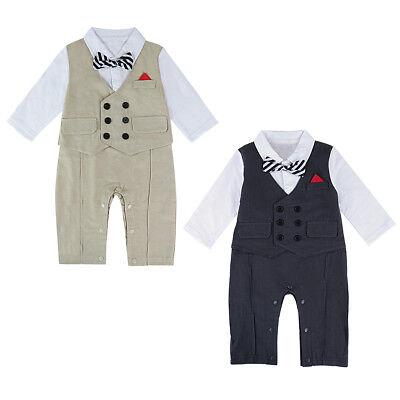 Baby Tuxedo Romper (Baby Boy Tuxedo Romper Newborn Gentleman Wedding Outfit Infant Bowtie Long Suit)