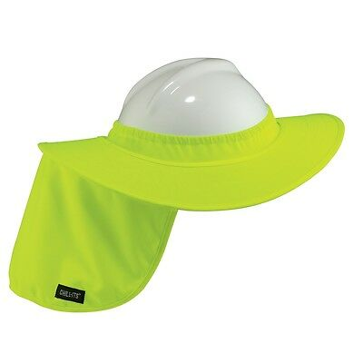 Full Brim Hard Hat Sun Shade Neck Shield Hi-vis Green