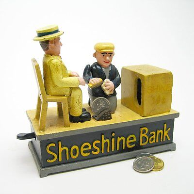 Sp1909   Shoe Shine Collectors Die Cast Iron Mechanical Coin Bank