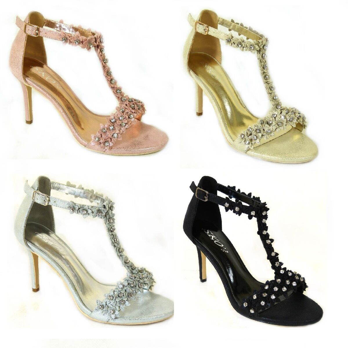 06f5362ee7e1 Details about Womens Ladies Mid Heel Diamante Bridal Wedding Sandals Flower Party  Shoes Size