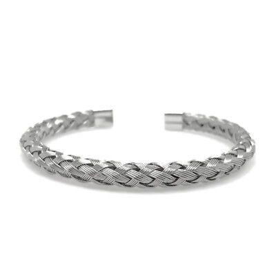 Stainless Steel Braided Silver Metal Wire Cuff Bracelet Adjustable Mens Womens