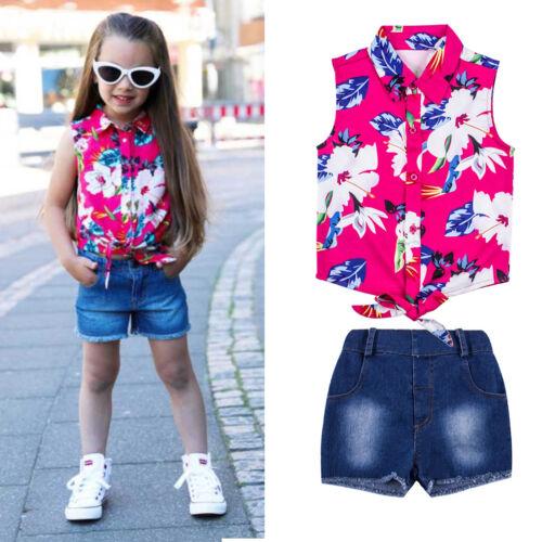 2PCS Kids Baby Girls Clothes Floral T-shirt Tops+Jeans Pants