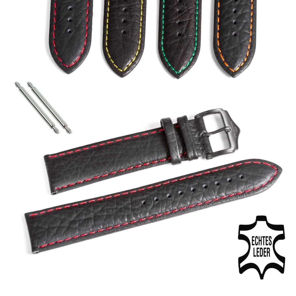 Uhr Armband Leder Schwarz Naht Rot Lederarmband Uhrenarmband 22 mm  2 Federstege