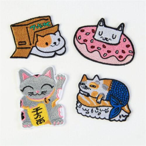 Katze Tier Nähen Bügeln auf Patch Tasche Kleidung Applique DIY Handwerk bestickt