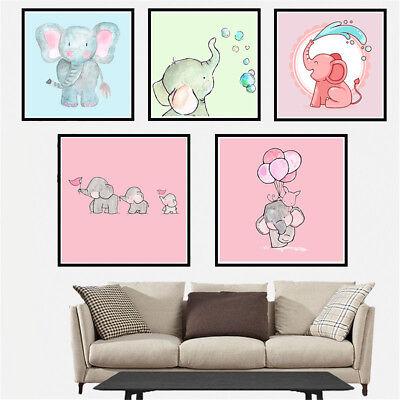 Cartoon Nordic Elephant Canvas Wall Painting Kids Nursery Room Home Wall - Elephant Room Decor