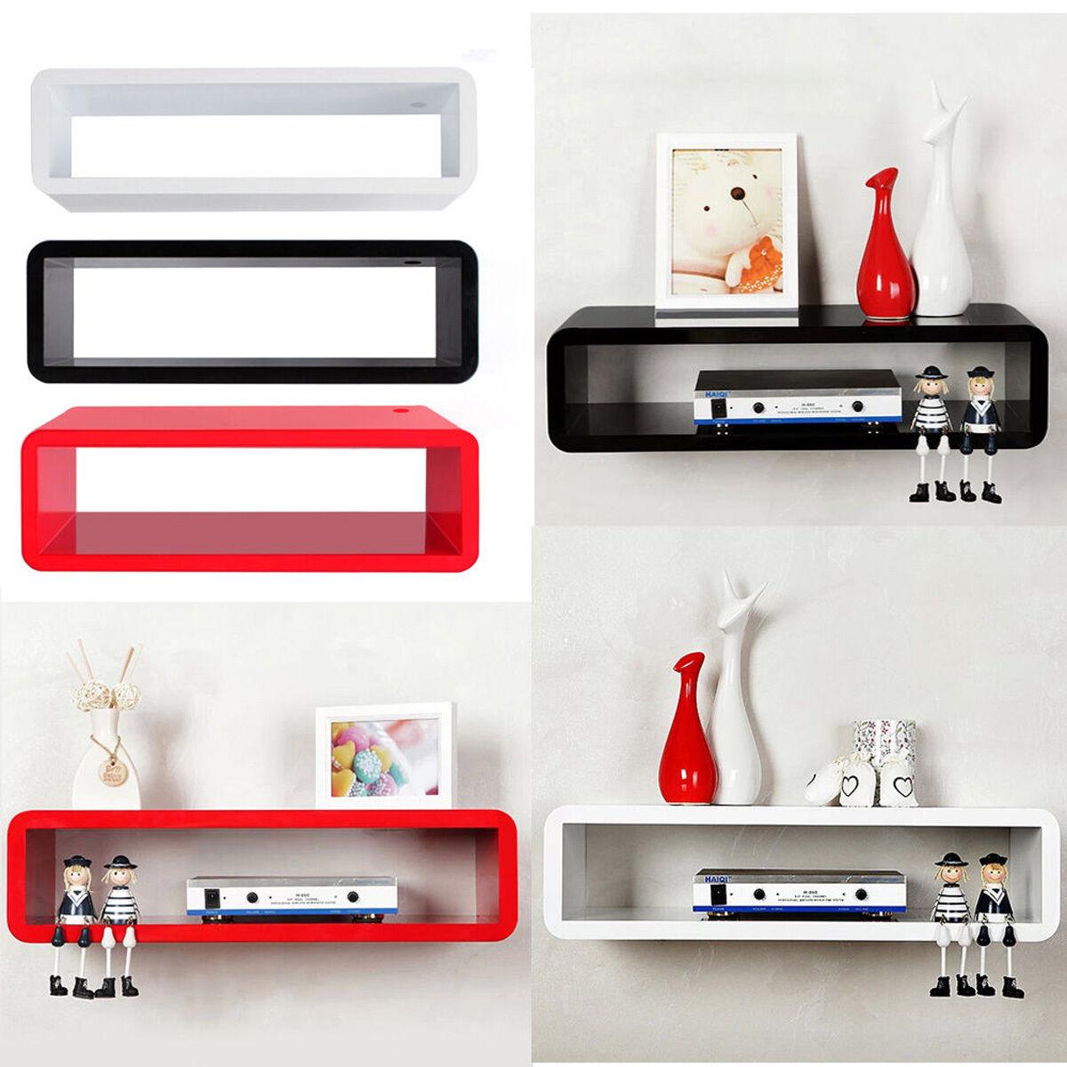floating box shelves  ebay - xxcm floating wall mount shelf cube sky box dvd hifi unit shelfshelves