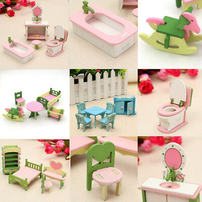 4 Lots Wooden Dolls House Miniature Accessory Home Furniture Children Toys Gifts