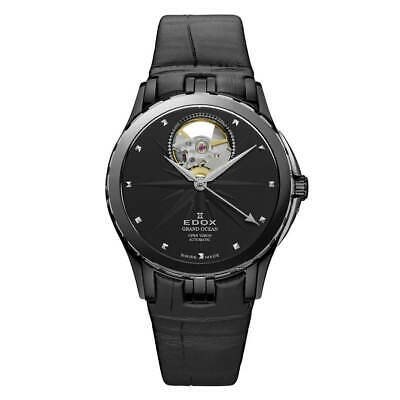 Edox Women's Watch Grand Ocean Automatic Open Heart Black Dial 85012 357N NIN