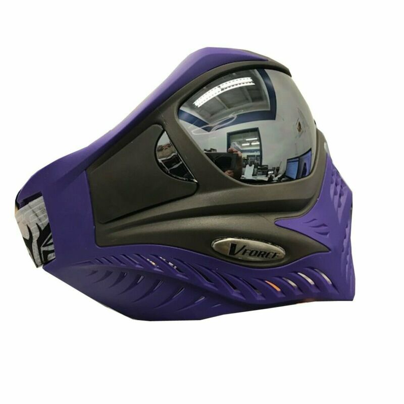V-FORCE Grill SC Paintball Mask Goggle w/ Chrome HDR Lens - Charcoal on Purple