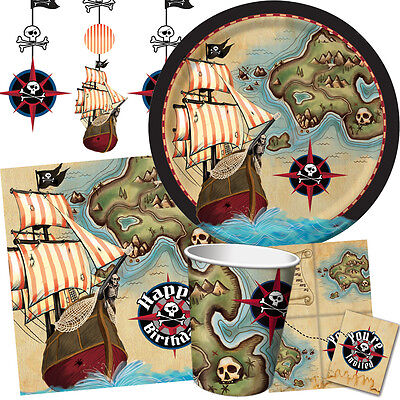 PIRATE'S MAP Birthday Party Range - Kids Fun Tableware Balloons & Decorations