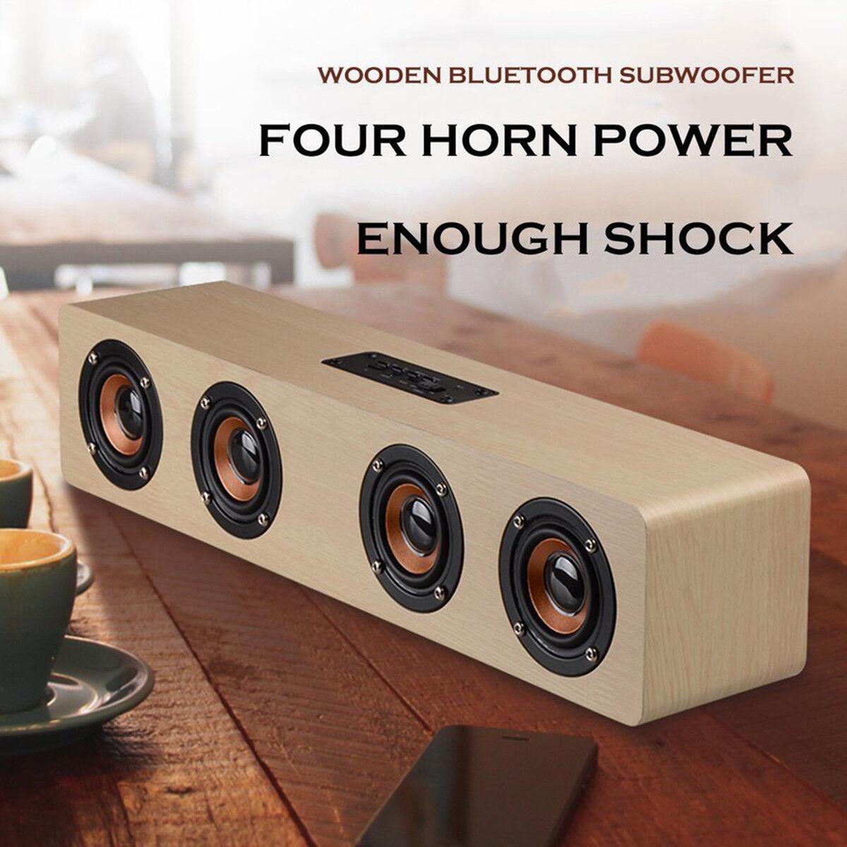 Wireless Bluetooth Speaker Hi-Fi 3D Loud Quad Wooden FM Stereo Radio Super Bass