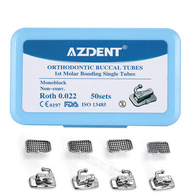 50sets Azdent Dental Orthodontic Sgl Buccal Tube Roth.022 1st Molar Non-conv
