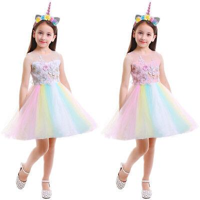 Flower Girls Rainbow Unicorn Costume Christmas Princess Birthday Party Dress Up - Girls Christmas Dress Up