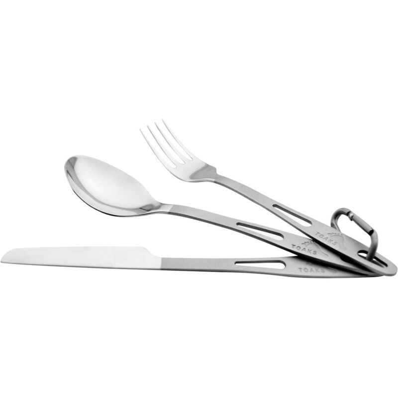 TOAKS Titanium 3-Piece Cutlery Set SLV-02 - Outdoor Camping Fork, Knife & Spoon