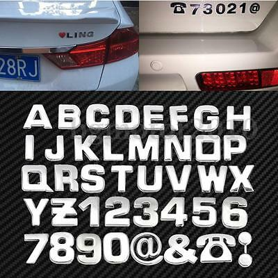 (40x DIY 3D Chrome Car Emblem Sticker Alphabet Letter Number Symbol Badge Decal )
